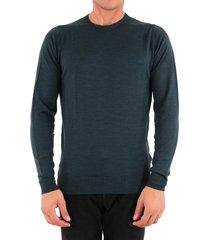 john smedley merino wool sweater green