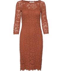 dress 3/4s knälång klänning brun rosemunde