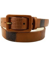 women's mixed textured belt with covered buckle