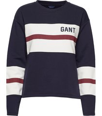d1.graphic block stripe c-neck sweat-shirt trui blauw gant