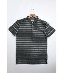 camiseta polo hombre rayas horizontales delascar - gris cp089