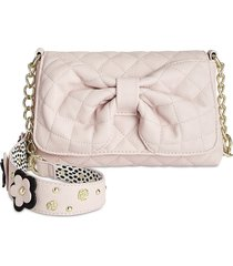 nwt betsey johnson pink blush floral quilted bow front shoulder bag