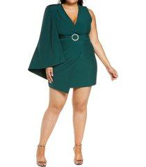 lavish alice half cape minidress, size 14w in forest green at nordstrom