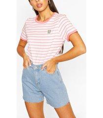 pocket print stripe ringer t-shirt, coral