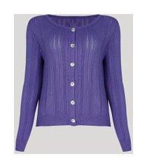 cardigan feminino mindset em tricô lilás
