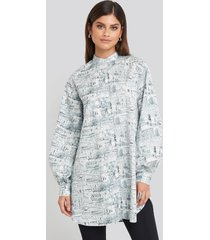 na-kd trend oversized printed cotton shirt dress - multicolor