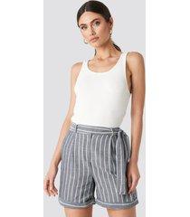 trendyol striped tulum linen shorts - blue