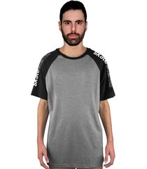 camiseta manga curta raglan skate eterno shoulder cinza/preto - kanui