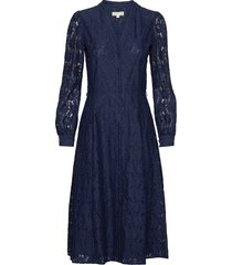 midi shirt drs knälång klänning blå michael kors