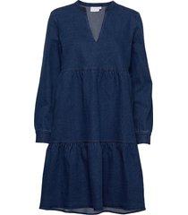 dress longsleeves w. v-neck kort klänning blå coster copenhagen