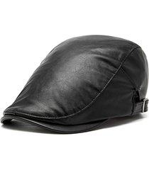 unisex berretto vintage casual in pelle pu antivento regolabile cappello  newsboy 0baedae803be