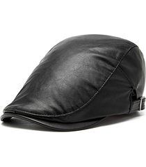 unisex berretto vintage casual in pelle pu antivento regolabile cappello newsboy