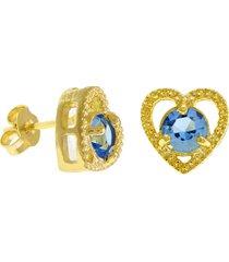 brinco horus import ponto luz coração aquamarine banhado ouro amarelo 18 k - 1031128