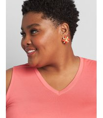 lane bryant women's convertible floral statement earrings - coral onesz starfish coral