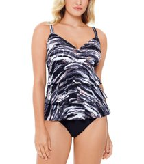 swim solutions coastal plates printed tiered tummy control one-piece swimsuit, created for macy's women's swimsuit