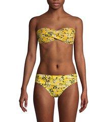 floral-print bikini top