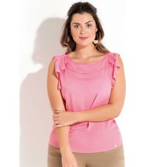 blusa plus size com babado quintess feminina