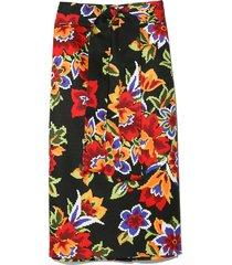 pixel floral pencil skirt in black multi