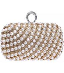 bolsa clutch liage bordada pedra pérola cristal pedraria strass brilho metal prata e dourada - kanui