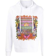 neil barrett art collage print hoodie - white
