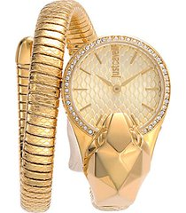 goldtone stainless steel & crystal python wrap cuff watch