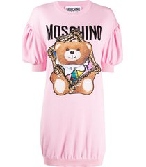 moschino teddy bear frame knitted dress - pink