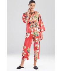 natori enchanted lotus satin mandarin sleep pajamas & loungewear, women's, size l natori