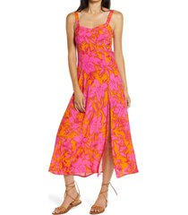 4si3nna everette floral print dress, size medium in fuchsia-orange at nordstrom