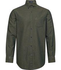 d2. tp herringb solid reg bd overhemd casual groen gant