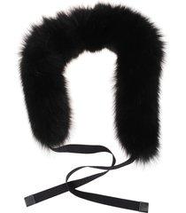 max mara black fur scarf