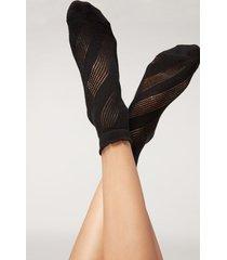 calzedonia openwork patterned ankle socks woman black size tu
