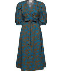 miriamgz wrap dress ma20 jurk knielengte blauw gestuz