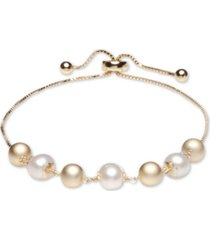 cultured freshwater pearl (8mm) and beads bolo bracelet in 18k gold over sterling silver