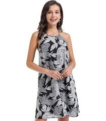 vestido trapecio hojas negro nicopoly