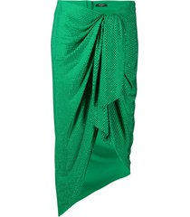 balmain polka-dot ruched midi skirt - green
