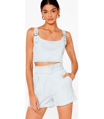 womens bad buckle babe crop top and shorts set - blue