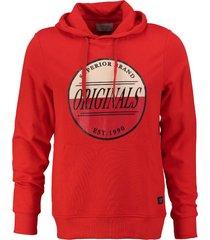 jack & jones zachte slim fit sweater hoodie fiery red valt kleiner