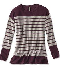 cotton/cashmere/silk striped tunic sweater, wine/multi, x large