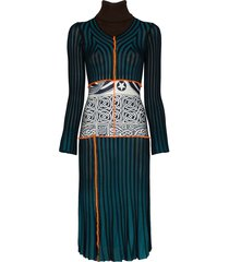 duran lantink stripe patchwork knit dress - blue