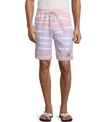 puma men's tie-dye shorts - purple - size s