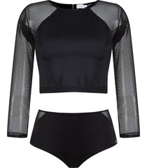 brigitte cropped top and hot pants set - black