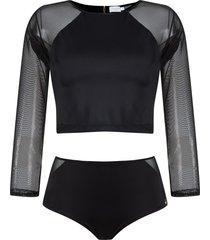 brigitte cropped top and hot pants set - black