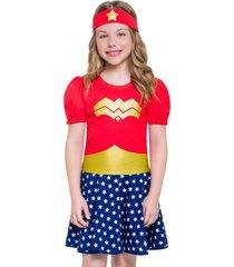pijama fantasia veggi maravilha - azul marinho/vermelho - menina - algodã£o - dafiti