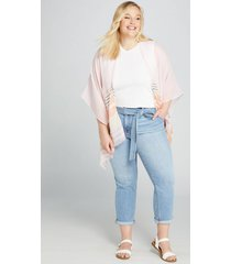 lane bryant women's high-rise straight crop jean - belted light wash 26 light denim