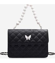 faux pearl double strap butterfly detail crossbody bag