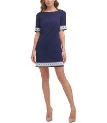 jessica howard petite textured lace-trim dress