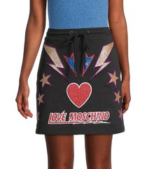 love moschino women's gonna con logo skirt - black multi - size 38 (4)