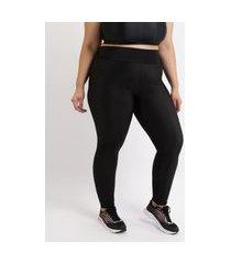 calça legging feminina plus size texturizada cintura alta preta