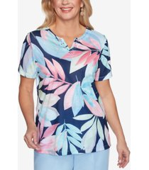 alfred dunner petite classics embellished floral-print top
