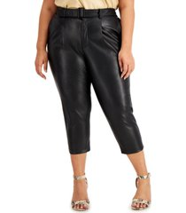 inc plus size faux-leather belted pants, created for macy's